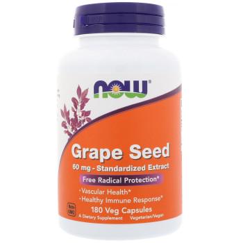 Now Grape Seed 60 mg 180 капсул (Экстракт косточек винограда)