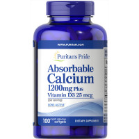 Puritan's Pride Absorbable Calcium 1200 mg with Vitamin D-3 1000 IU 100 капсул