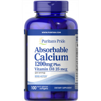 Puritan's Pride Absorbable Calcium 1200 mg with Vitamin D3 1000 IU 100 капсул