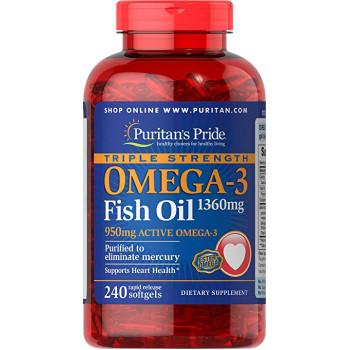 Puritan's Pride Omega-3 Fish Oil 1360 mg 240 капсул
