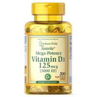 Puritan's Pride Vitamin D3 125 mcg (5000 IU) 200 Softgel