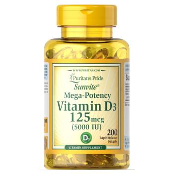 Puritan's Pride Vitamin D-3 125 mcg (5000 IU) 100 Softgel