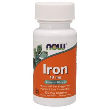 NOW Iron 18 mg Ferrochel 120 капсул